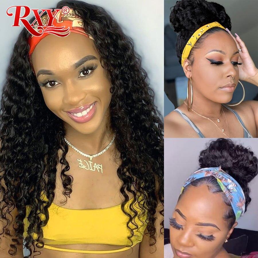 RXY Deep Curly Human Hair Wig Brazilian Headband Wig Human Hair 8